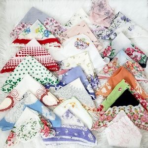 Vintage Hankie Lot of 45: Lace, floral Embroidered